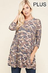 PLUS CAMOUFLAGE PRINT TRAPEZE KNIT TOP