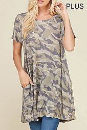 PLUS CAMOUFLAGE TRAPEZE KNIT TOP