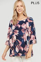 PLUS FLORAL PRINT RUFFLE SLEEVES TOP
