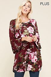 PLUS FLARING SLEEVES FLORAL JERSEY TUNIC