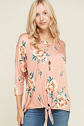 PLUS FLORAL PRINT FRONT TIE TOP