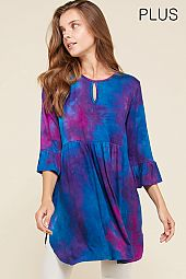 KEY HOLE FRONT TIE DYE TUNIC