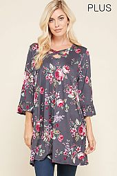 PLUS CRISSCROSS STRAP ACCENT FLORAL TOP