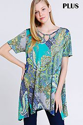 PLUS CUT OUT ACCENT PAISLEY FLARING TOP