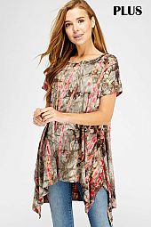PLUS DRAPING SIDE BAMBOO TIE DYE TOP