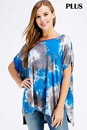 PLUS TIE DYE PRINT LOOSE FIT CASUAL TOP