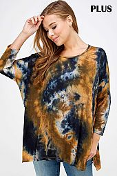 PLUS TIE DYE PRINT SLIT OPEN SIDE LOOSE FIT TOP