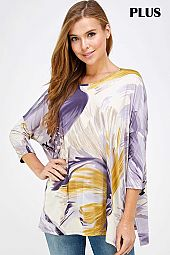PLUS MULTI PRINT SLIT OPEN SIDE LOOSE FIT TOP