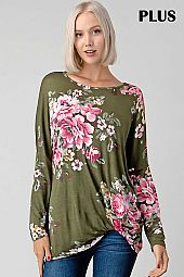 FLORAL PRINT KNOT FRONT ROUND NECK TOP