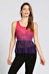 SLIT BACK OMBRE DYE TIERED PEPLUM TOP