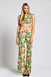 BOTANICAL PRINT CROP TOP AND PALAZZO PANTS SET WEAR