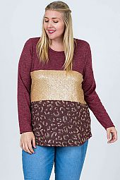 PLUS SEQUIN COLOR BLOCK TOP