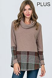 CHECKER PRINT HEM TURTLE NECK TOP