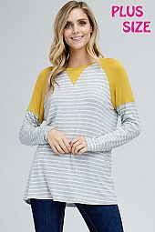 PLUS SOLID TRIM STRIPE JERSEY TOP