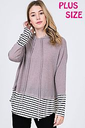 STRIPE TRIM HEM HOODED PULLOVER