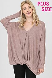 TWIST FRONT SOLID KNIT BOXY TOP