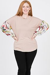PLUS FLORAL PRINT CHIFFON SLEEVES TOP