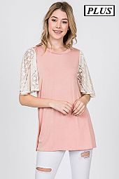 PLUS LACE TRIM SLEEVES JERSEY TOP