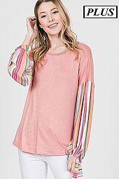 VERTICAL STRIPE BUBBLE SLEEVES JERSEY TOP