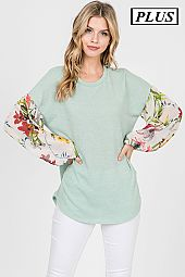 FLORAL BUBBLE SLEEVES TRIM TOP