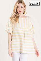 PLUS STRIPE PRINT WOVEN BLOUSE
