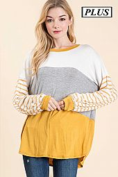 PLUS SOLID AND STRIPE PRINT ROUND NECK TOP