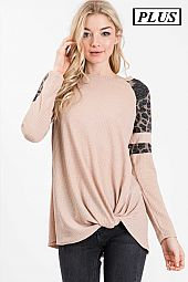 ANIMAL PRINT SLEEVE DETAIL SOLID WAFFLE KNIT TOP