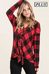 CHECKER PRINT BUTTON DOWN HOODIE TOP