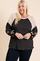 SOLID AND PRINT COLOR BLOCK WAFFLE KNIT TOP