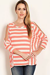 STRIPE PRINT DOLMAN SLEEVE COLD-SHOULDER PULLOVER