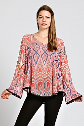 TRIBAL PRINT CROCHET TRIM BLOUSE