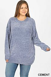 PLUS SOLID ROUND NECK CHENILLE SWEATER