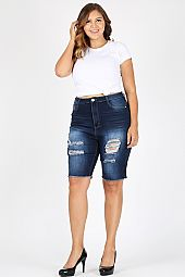 PLUS DISTRESSED BERMUDA DENIM SHORTS