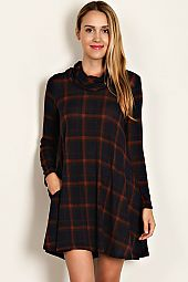 PLAID PRINT DOUBLE KNIT DRESS