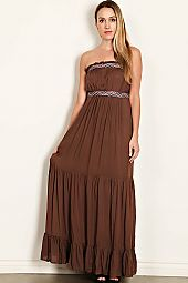 MULTI COLOR BRAIDED BAND ACCENT TUBE MAXI DRESS