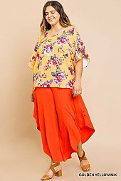 PLUS TIER RUFFLE HEM FLORAL TOP