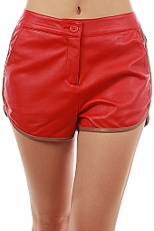 LEATHERETTE FRONT PONTE CONTRAST SHORTS