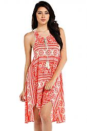 INDIAN PRINT CROCHET TRIMMED DRESS