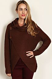 SOLID SWEATER KNIT COWL NECK TOP