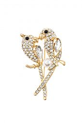 RHINESTONE PAVE LOVE BIRD BROOCH