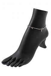 RHINESTONE CROSS CHAIN ANKLET