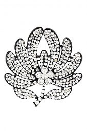 RHINESTONE FLORAL ACCENT LEAF DETAILED BROOCH