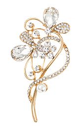 ELABORATED CRYSTAL GEM FLORAL ACCENT BROOCH
