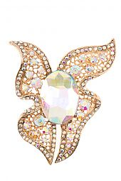 FACETED CRYSTAL GEM ACCENT BROOCH