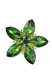 CRYSTAL FACETED FLOWER BROOCH