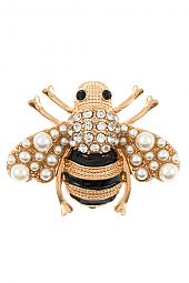 PEARL AND RHINESTONE BEE BROOCH