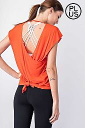 Plus V Neckline Open Back Yoga Top