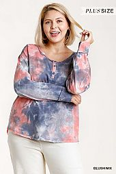 Tie-Dye Button Front Long Raglan Sleeve Top