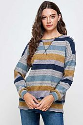 STRIPE BRUSHED LONG SLEEVE TOP