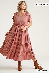 V-Neck Short Folded Sleeve Tiered Maxi Dress